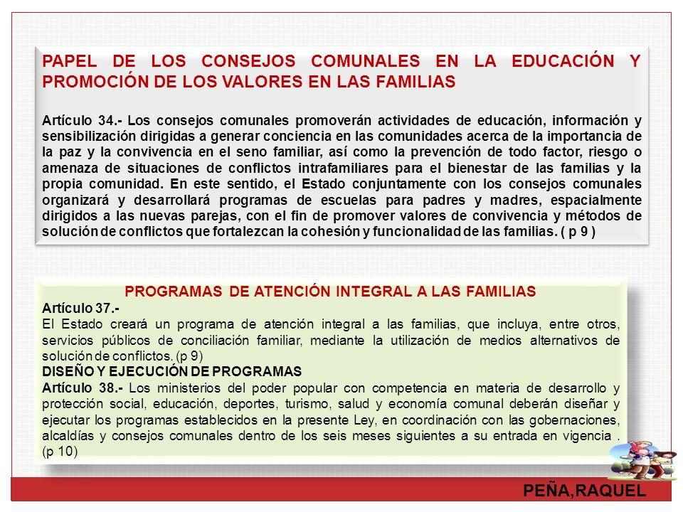 PROGRAMAS DE ATENCIÓN INTEGRAL A LAS FAMILIAS