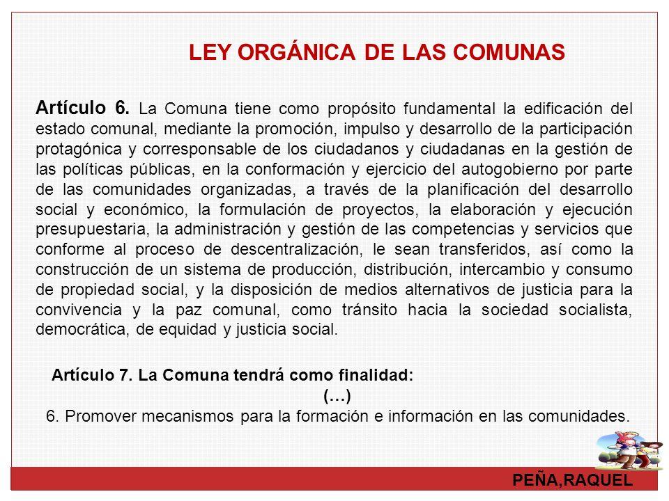 LEY ORGÁNICA DE LAS COMUNAS