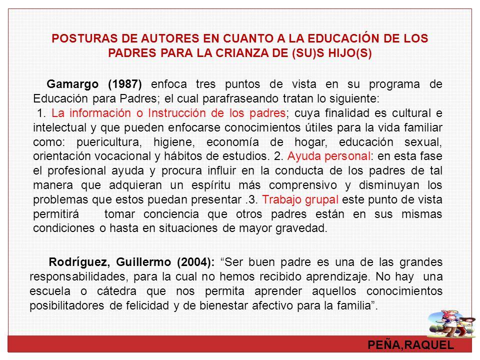 POSTURAS DE AUTORES EN CUANTO A LA EDUCACIÓN DE LOS PADRES PARA LA CRIANZA DE (SU)S HIJO(S)