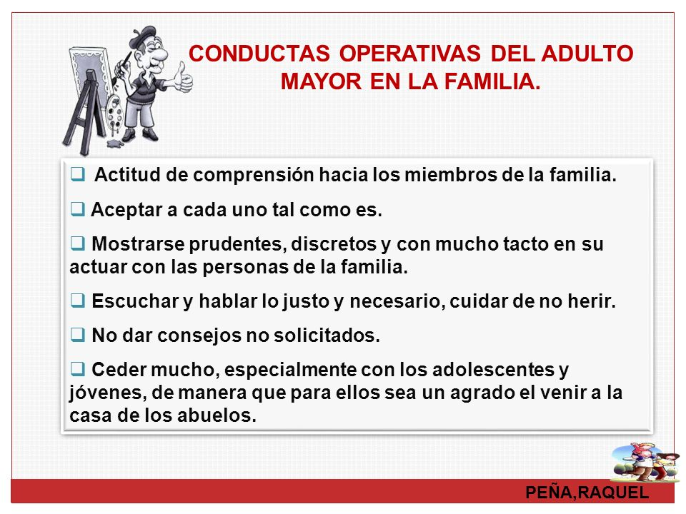 CONDUCTAS OPERATIVAS DEL ADULTO MAYOR EN LA FAMILIA.