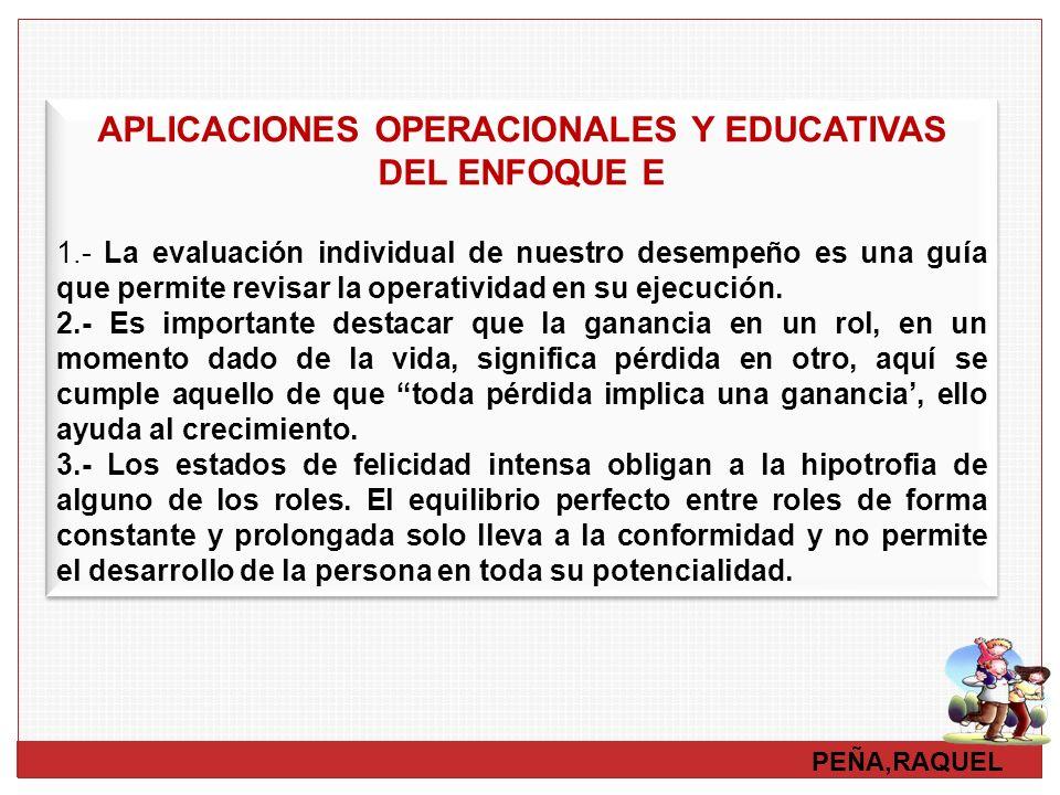APLICACIONES OPERACIONALES Y EDUCATIVAS DEL ENFOQUE E