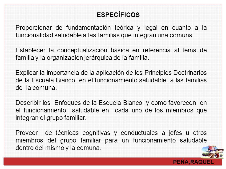 ESPECÍFICOS Proporcionar de fundamentación teórica y legal en cuanto a la funcionalidad saludable a las familias que integran una comuna.