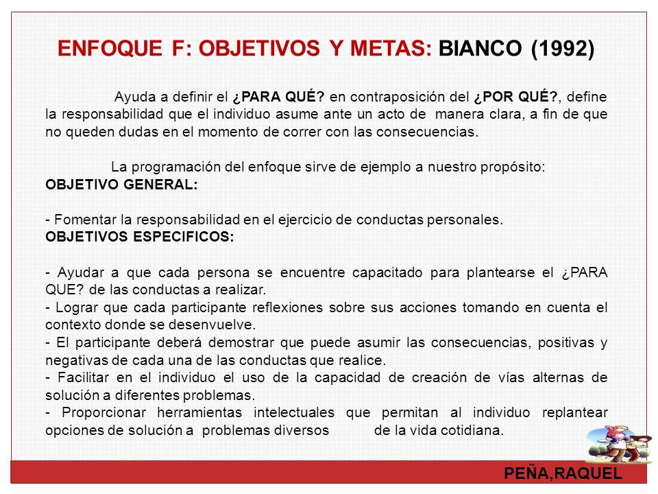 ENFOQUE F: OBJETIVOS Y METAS: BIANCO (1992)