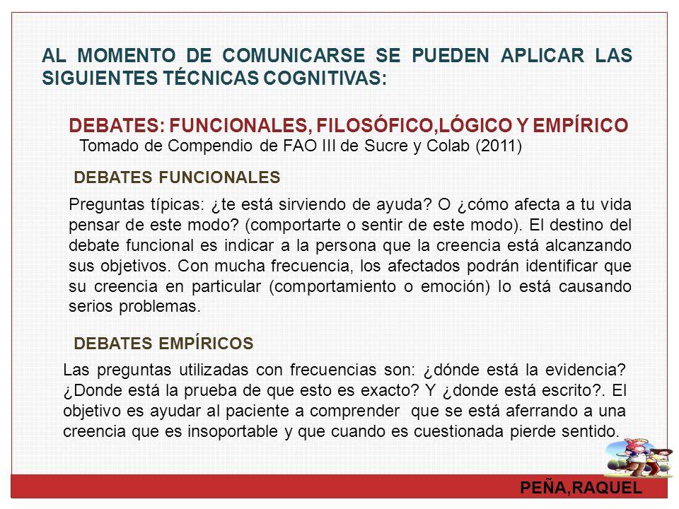 DEBATES: FUNCIONALES, FILOSÓFICO,LÓGICO Y EMPÍRICO
