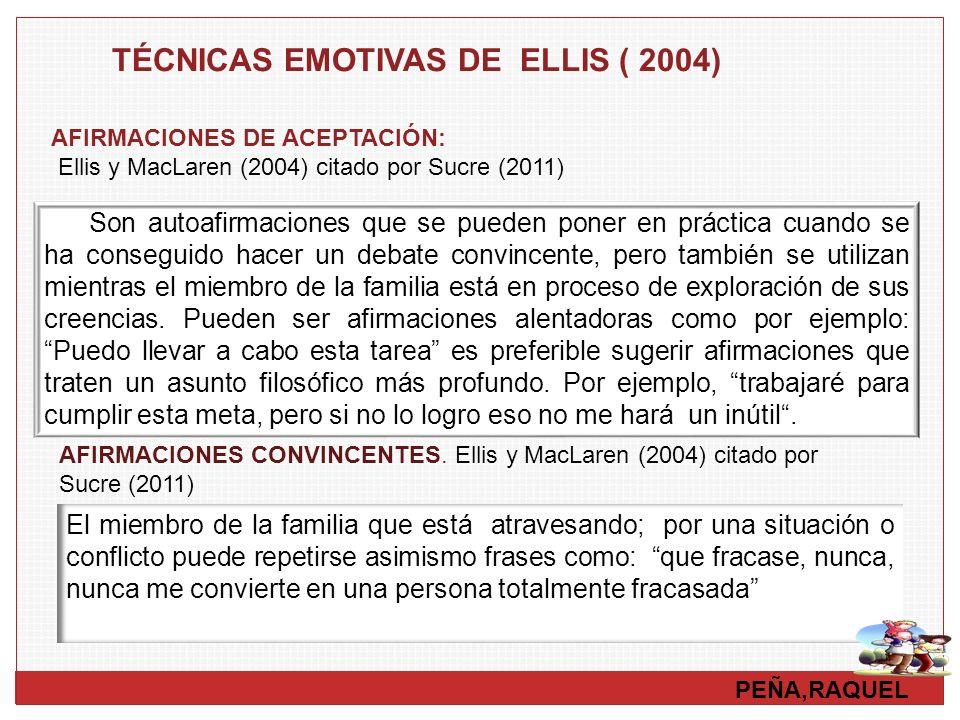 TÉCNICAS EMOTIVAS DE ELLIS ( 2004)