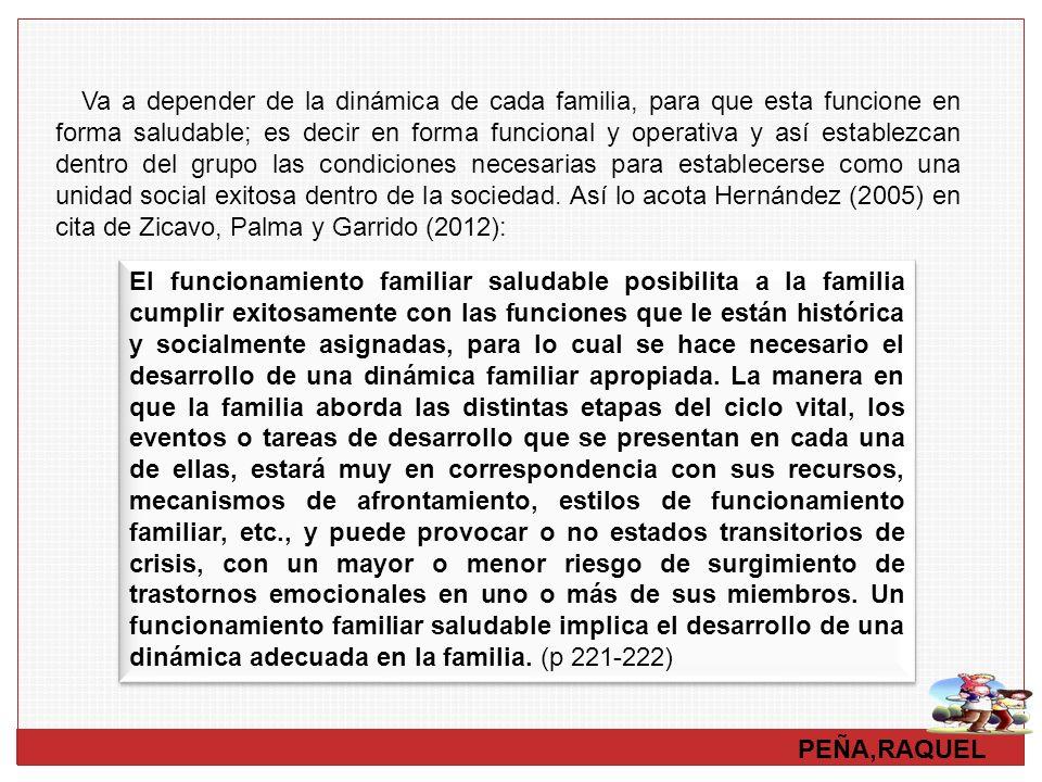 Va a depender de la dinámica de cada familia, para que esta funcione en forma saludable; es decir en forma funcional y operativa y así establezcan dentro del grupo las condiciones necesarias para establecerse como una unidad social exitosa dentro de la sociedad. Así lo acota Hernández (2005) en cita de Zicavo, Palma y Garrido (2012):