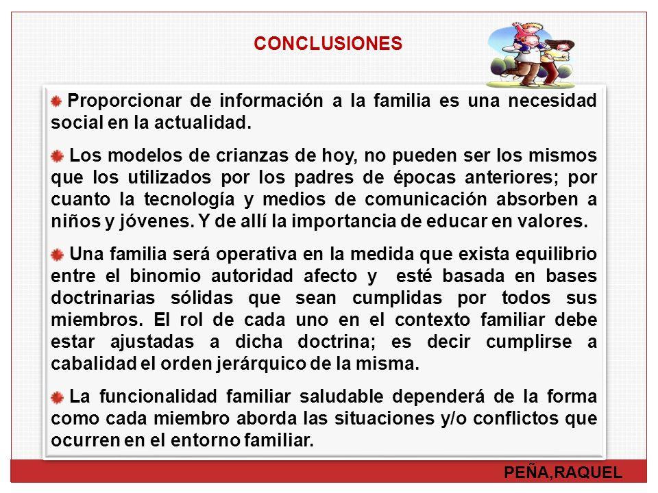 CONCLUSIONES Proporcionar de información a la familia es una necesidad social en la actualidad.