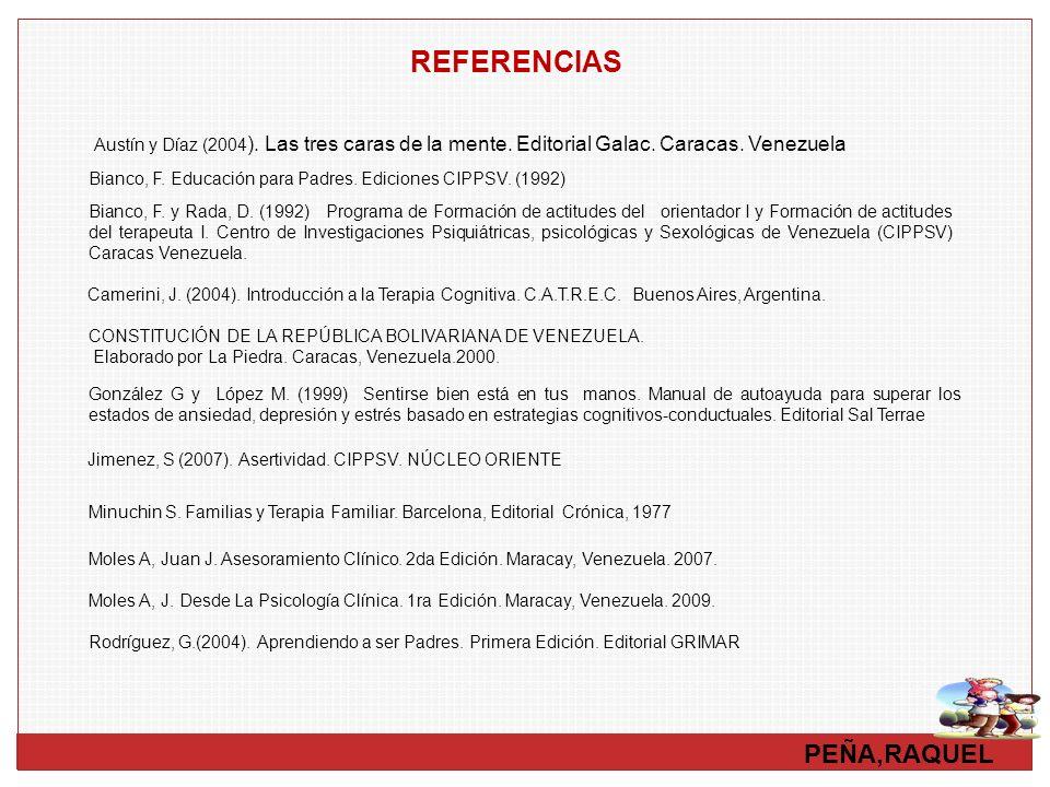 REFERENCIAS Austín y Díaz (2004). Las tres caras de la mente. Editorial Galac. Caracas. Venezuela.