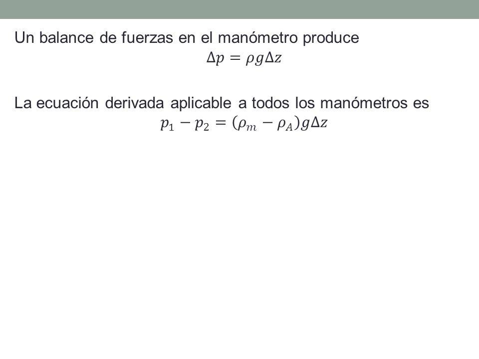 Un balance de fuerzas en el manómetro produce ∆𝑝=𝜌𝑔∆𝑧 La ecuación derivada aplicable a todos los manómetros es 𝑝 1 − 𝑝 2 = 𝜌 𝑚 − 𝜌 𝐴 𝑔∆𝑧
