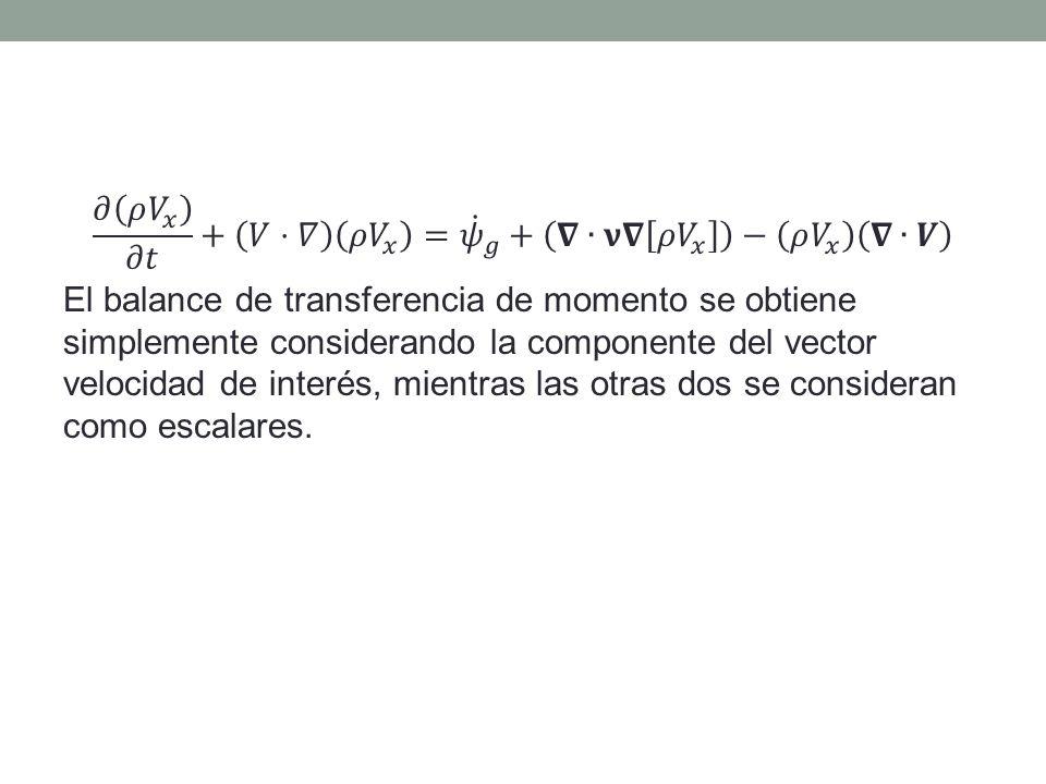 𝜕 𝜌 𝑉 𝑥 𝜕𝑡 + 𝑉⋅𝛻 𝜌 𝑉 𝑥 = 𝜓 𝑔 + 𝛁∙𝛎𝛁 𝜌 𝑉 𝑥 − 𝜌 𝑉 𝑥 𝛁∙𝑽 El balance de transferencia de momento se obtiene simplemente considerando la componente del vector velocidad de interés, mientras las otras dos se consideran como escalares.