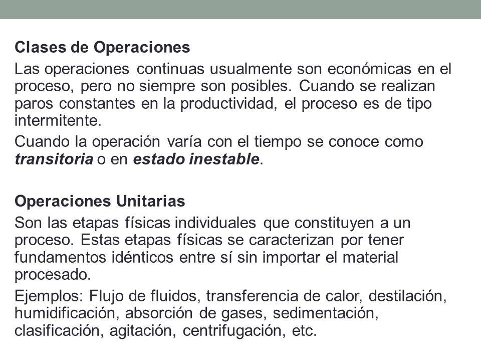 Clases de Operaciones Las operaciones continuas usualmente son económicas en el proceso, pero no siempre son posibles.