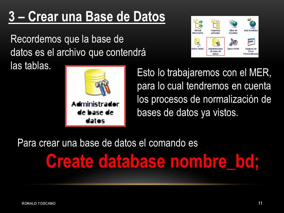 3 – Crear una Base de Datos