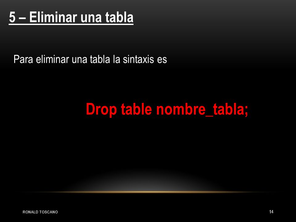 Drop table nombre_tabla;