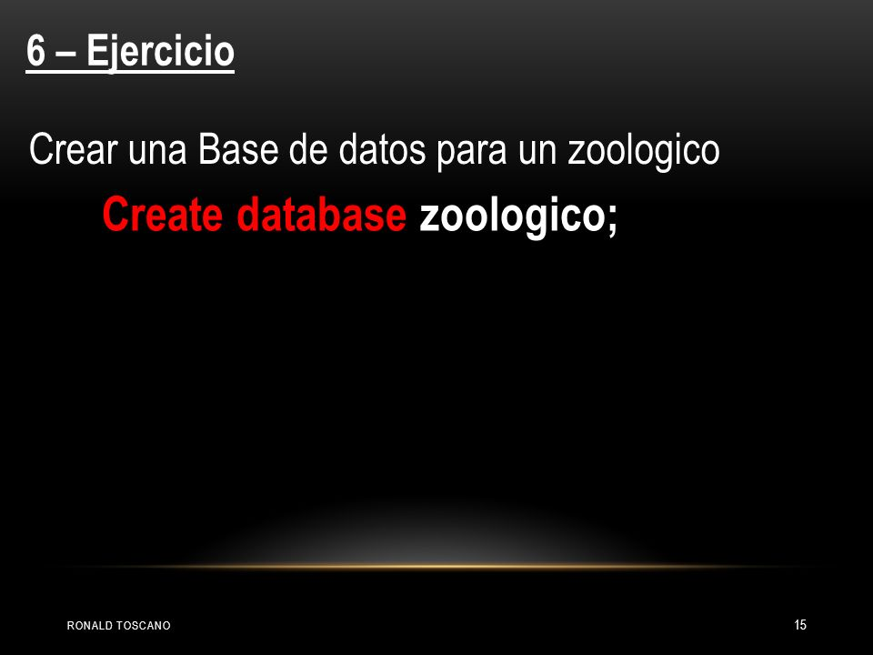 Create database zoologico;