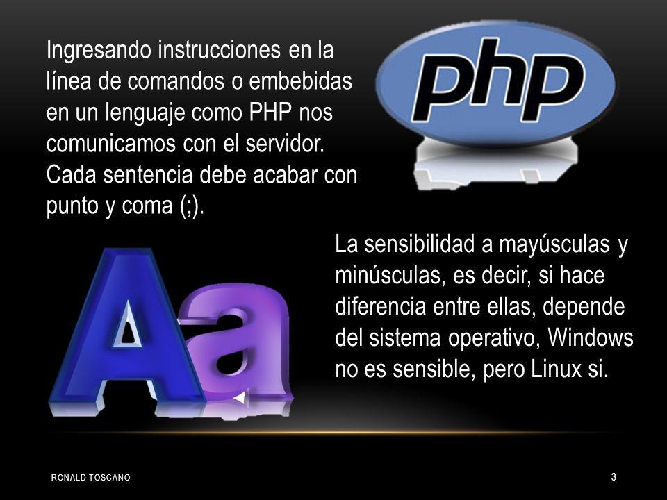 Ingresando instrucciones en la línea de comandos o embebidas en un lenguaje como PHP nos comunicamos con el servidor. Cada sentencia debe acabar con punto y coma (;).