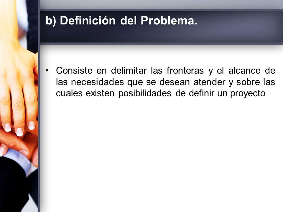 b) Definición del Problema.