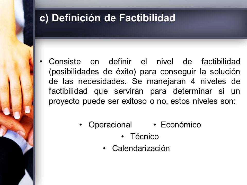 c) Definición de Factibilidad