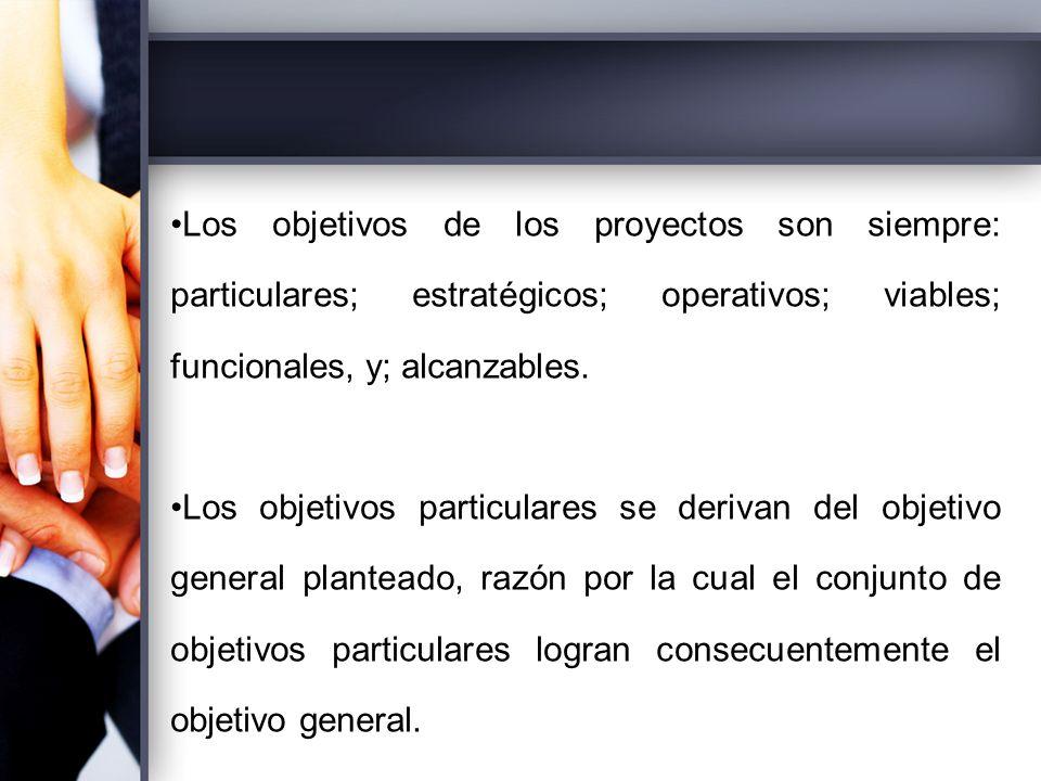 Los objetivos de los proyectos son siempre: particulares; estratégicos; operativos; viables; funcionales, y; alcanzables.
