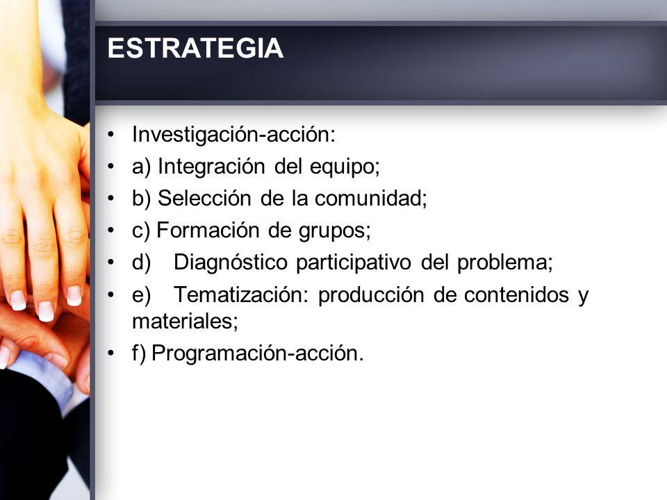ESTRATEGIA Investigación-acción: a) Integración del equipo;