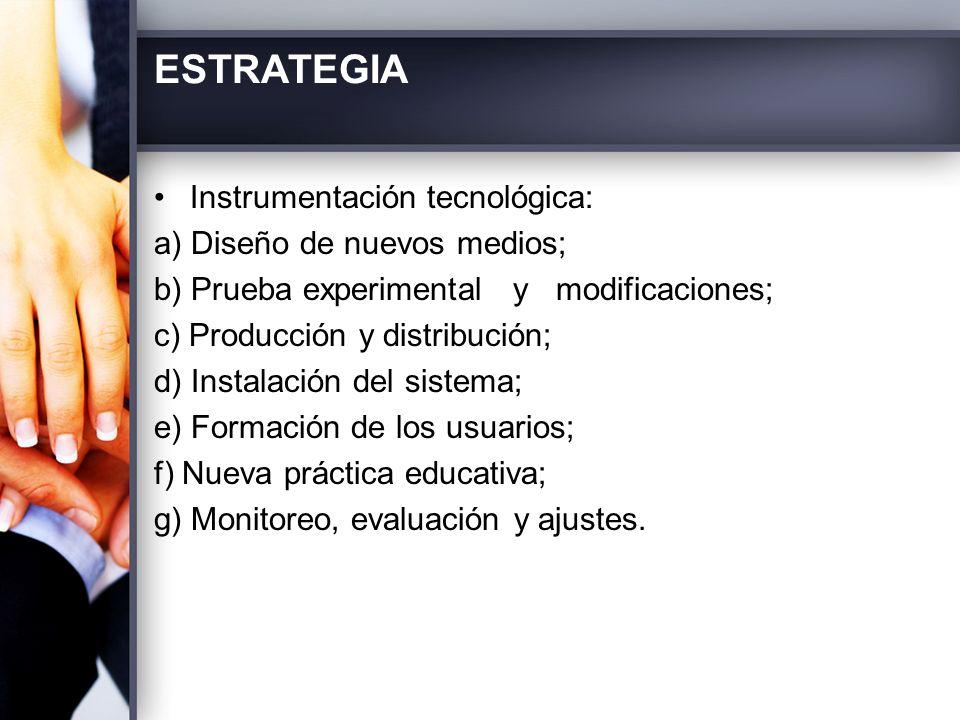 ESTRATEGIA Instrumentación tecnológica: a) Diseño de nuevos medios;