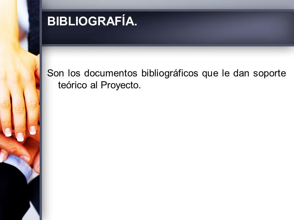 BIBLIOGRAFÍA. Son los documentos bibliográficos que le dan soporte teórico al Proyecto.