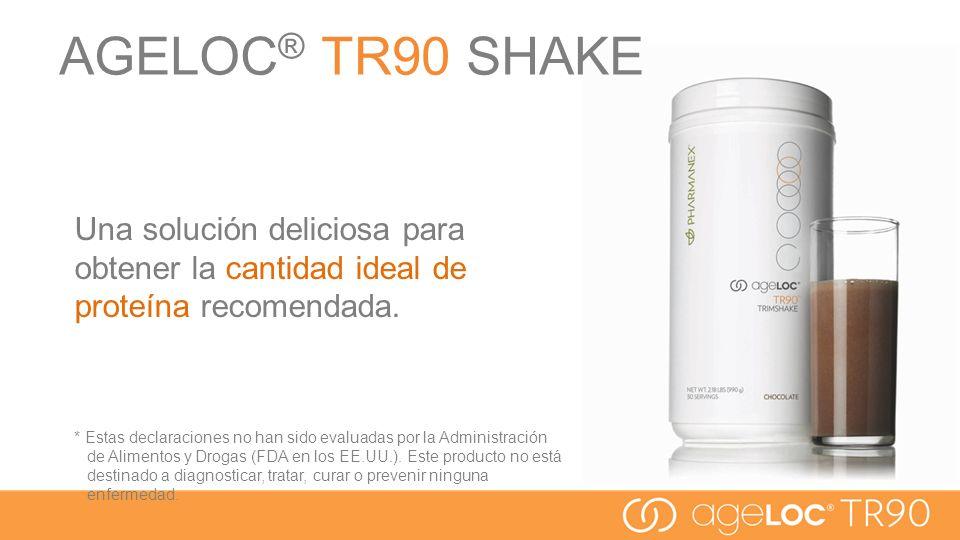 AGELOC® TR90 SHAKE Una solución deliciosa para obtener la cantidad ideal de proteína recomendada.