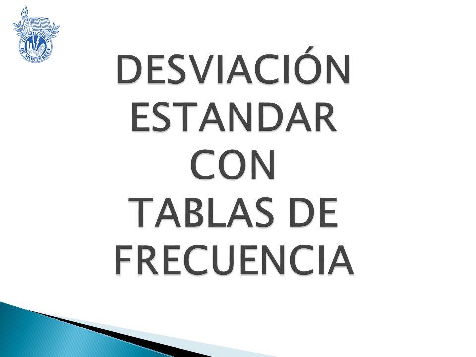 DESVIACIÓN ESTANDAR CON TABLAS DE FRECUENCIA