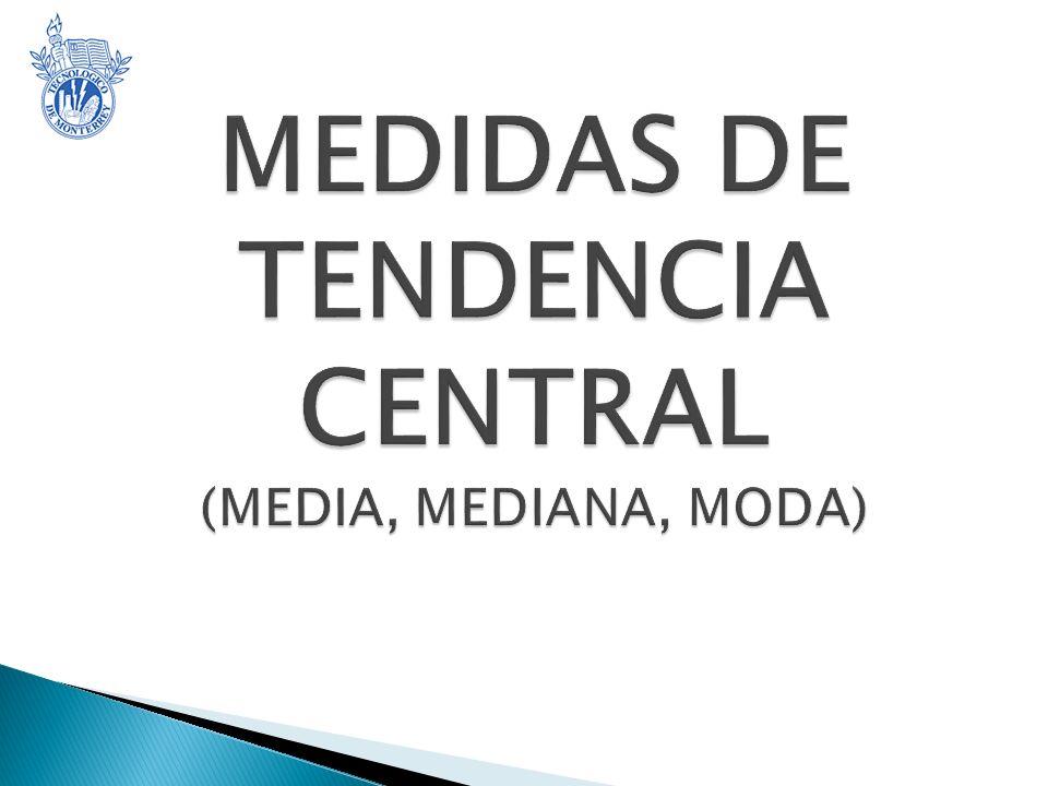 MEDIDAS DE TENDENCIA CENTRAL (MEDIA, MEDIANA, MODA)