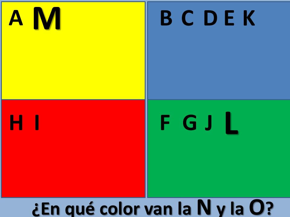 M A B C D E K L H I F G J ¿En qué color van la N y la O