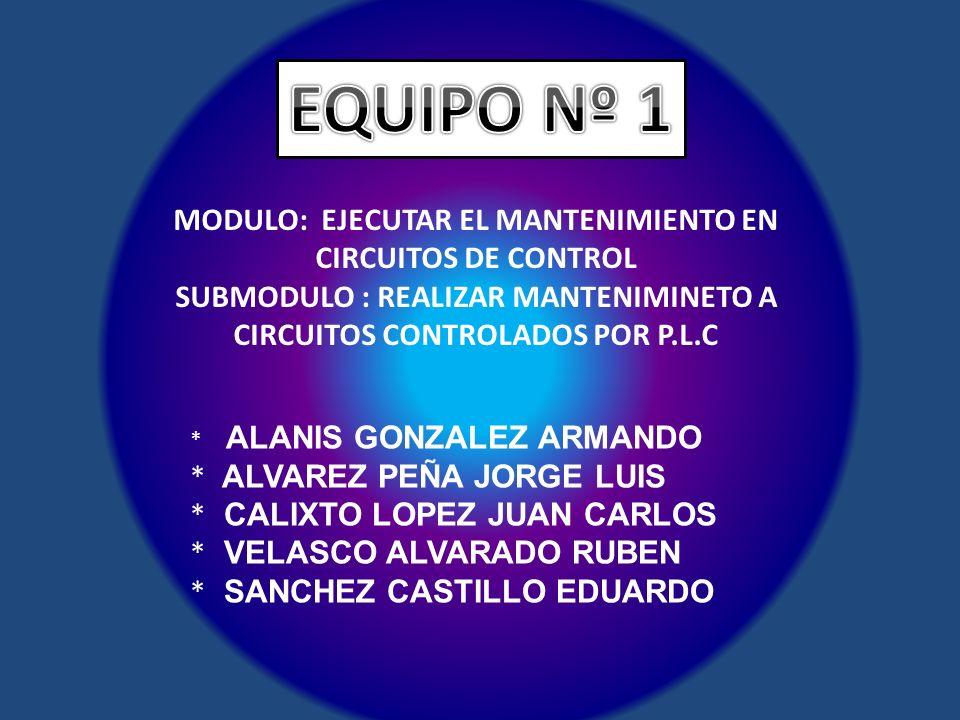 EQUIPO Nº 1 MODULO: EJECUTAR EL MANTENIMIENTO EN CIRCUITOS DE CONTROL