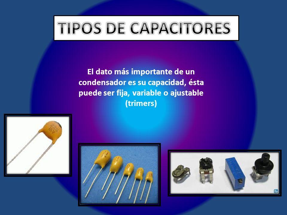 TIPOS DE CAPACITORES El dato más importante de un condensador es su capacidad, ésta puede ser fija, variable o ajustable (trimers)