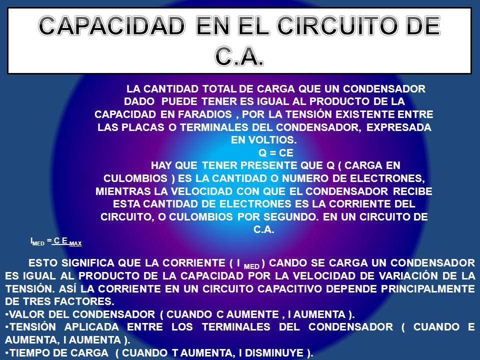 CAPACIDAD EN EL CIRCUITO DE C.A.