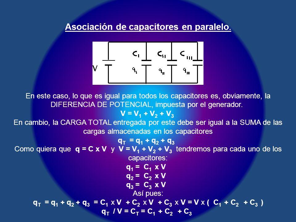Asociación de capacitores en paralelo.
