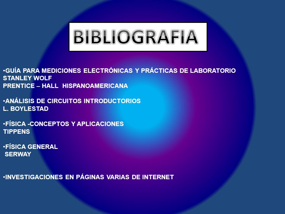 BIBLIOGRAFIA GUÍA PARA MEDICIONES ELECTRÓNICAS Y PRÁCTICAS DE LABORATORIO. STANLEY WOLF. PRENTICE – HALL HISPANOAMERICANA.