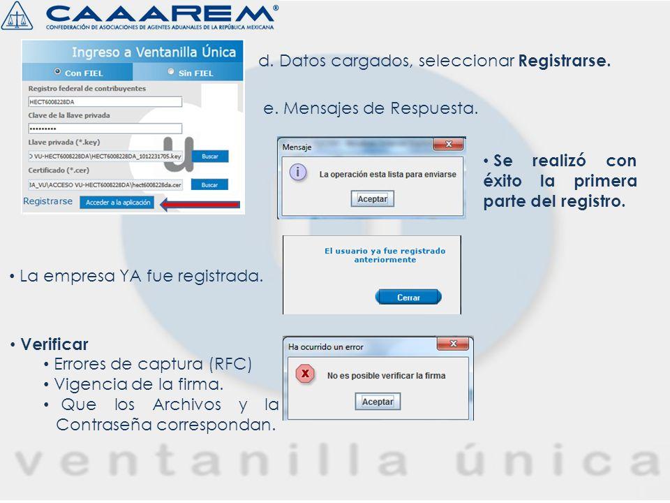 d. Datos cargados, seleccionar Registrarse.