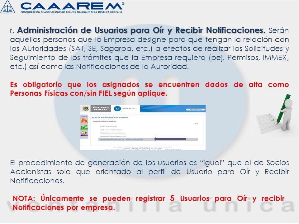 r. Administración de Usuarios para Oír y Recibir Notificaciones