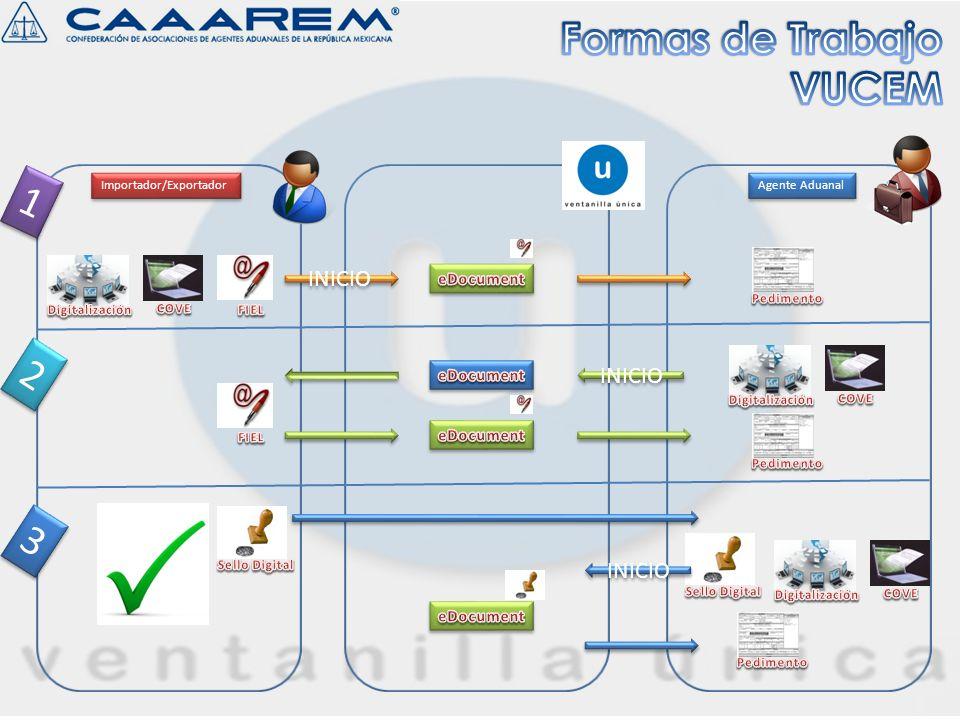 Formas de Trabajo VUCEM 1 2 3 INICIO INICIO INICIO eDocument eDocument