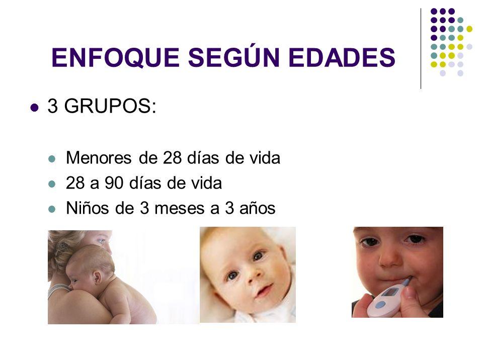 ENFOQUE SEGÚN EDADES 3 GRUPOS: Menores de 28 días de vida