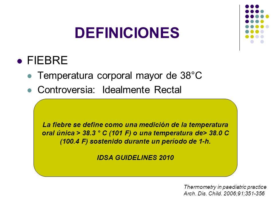 DEFINICIONES FIEBRE Temperatura corporal mayor de 38°C