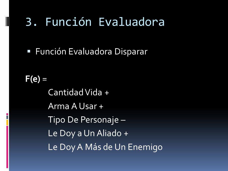 3. Función Evaluadora Función Evaluadora Disparar F(e) =