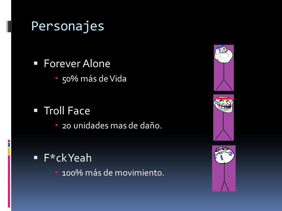 Personajes Forever Alone Troll Face F*ck Yeah 50% más de Vida