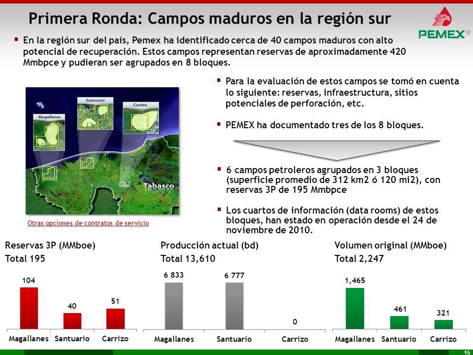 Primera Ronda: Campos maduros en la región sur