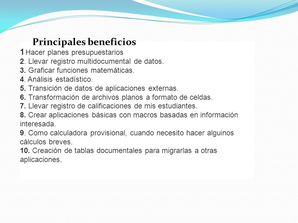 Principales beneficios