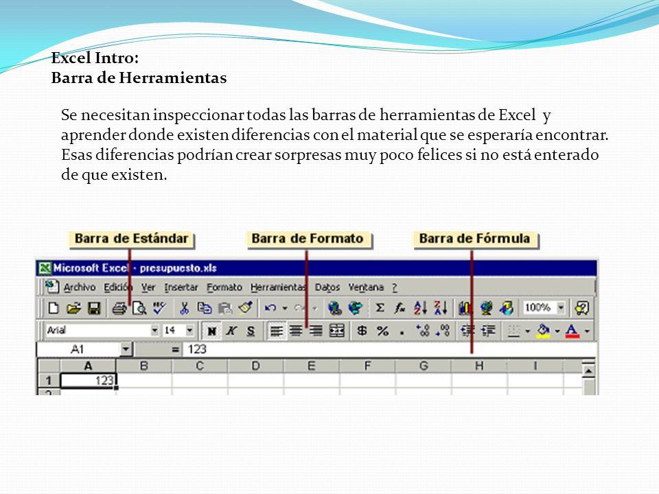 Excel Intro: Barra de Herramientas