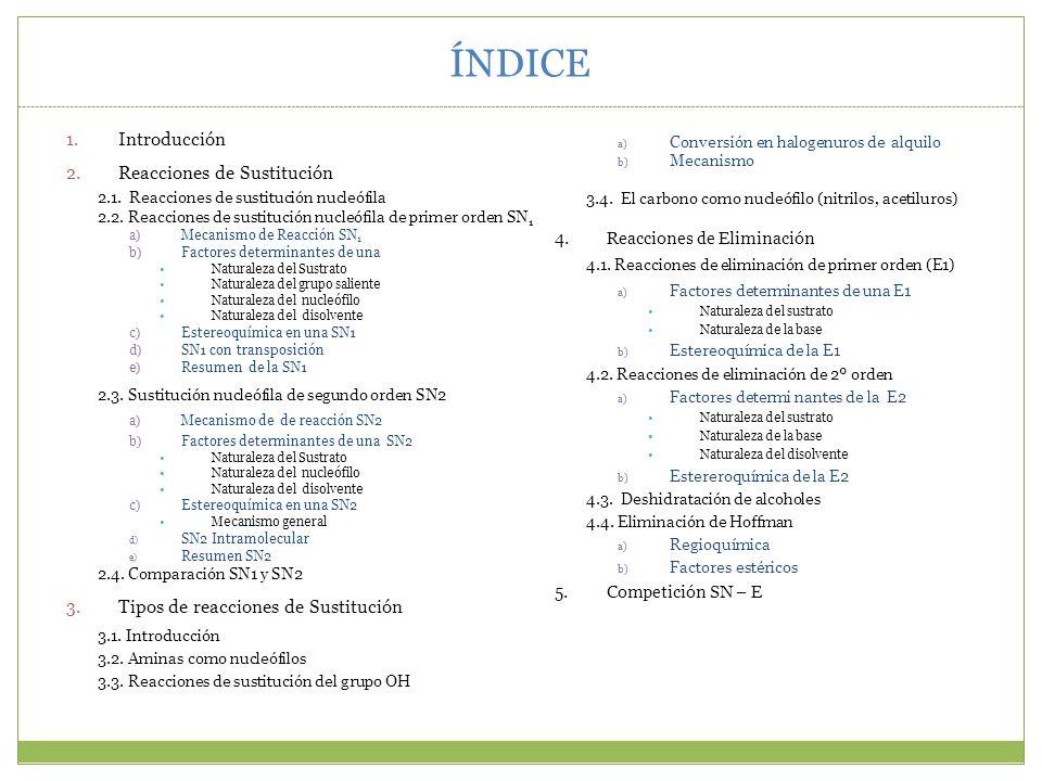 ÍNDICE Introducción Reacciones de Sustitución