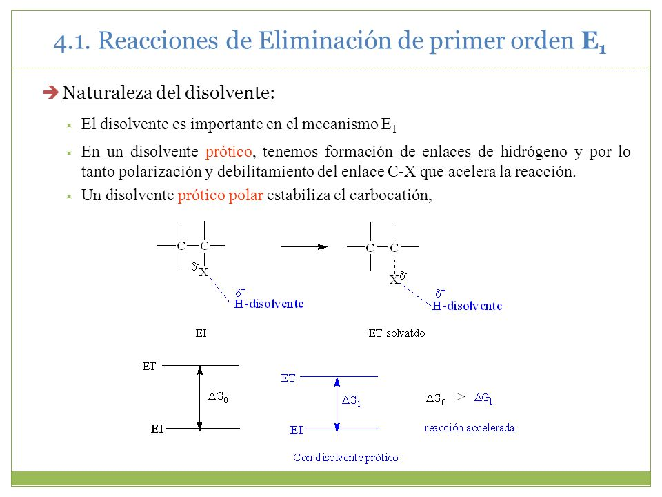 4.1. Reacciones de Eliminación de primer orden E1