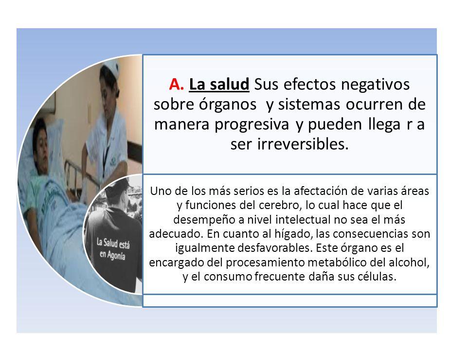 A. La salud Sus efectos negativos sobre órganos y sistemas ocurren de manera progresiva y pueden llega r a ser irreversibles.