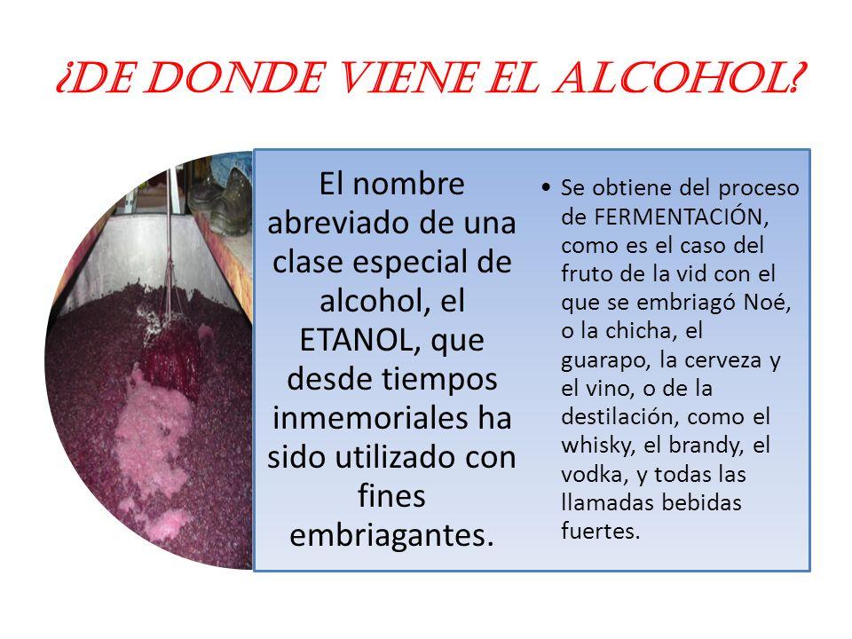 ¿De donde viene el alcohol