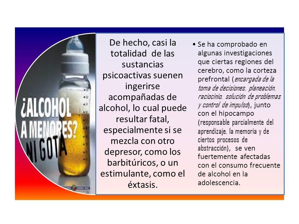 De hecho, casi la totalidad de las sustancias psicoactivas suenen ingerirse acompañadas de alcohol, lo cual puede resultar fatal, especialmente si se mezcla con otro depresor, como los barbitúricos, o un estimulante, como el éxtasis.