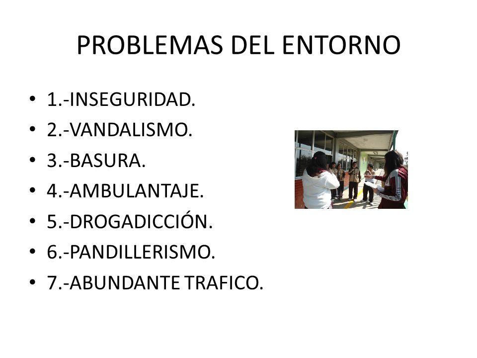 PROBLEMAS DEL ENTORNO 1.-INSEGURIDAD. 2.-VANDALISMO. 3.-BASURA.